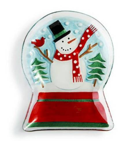 Snowman Snowglobe Shaped Plate LARGE
