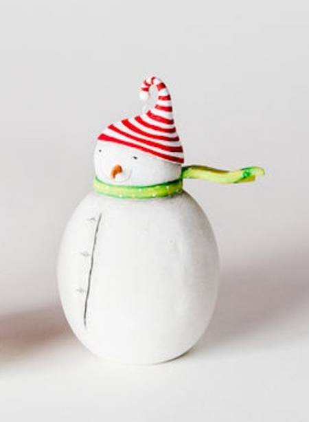 Snowman with Striped Hat Ornament