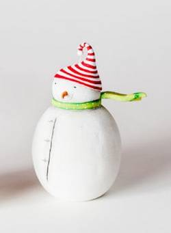 Snowman with Striped Hat Ornament THUMBNAIL