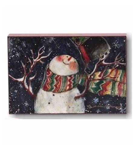 Snowman with Snowflakes Block Art