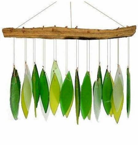 Driftwood and green glass windchime LARGE