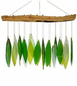 Driftwood and green glass windchime THUMBNAIL