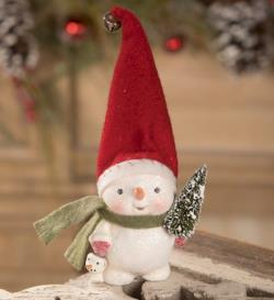 Snowman figure with tree, bucket and felt hat THUMBNAIL