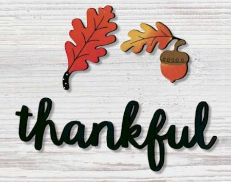 Thanksful Magnet with Fall leaves LARGE