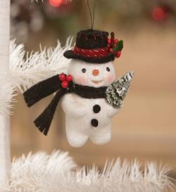 Snowman ornament with felt hat and Christmas tree. THUMBNAIL