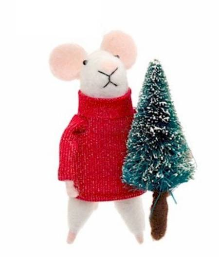 Mouse in Red Sweater with Christmas Tree LARGE