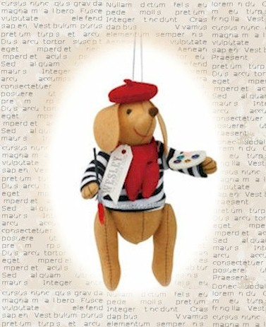 Wesley the Wiener-Dog Parisian Ornament_LARGE