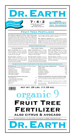 25lb Dr Earth Organic 9 Fruit Tree Fertilizer LARGE