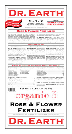 25lb Dr Earth Organic 3 Rose & Flower Fertilizer 5-7-2 LARGE