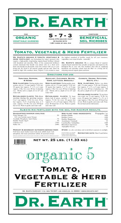 25lb Dr Earth Organic 5 Tomato, Vegetable & Herb Fertilzer LARGE
