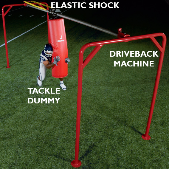 Tackle Dummy on Driveback Machine with Elastic Shock cord THUMBNAIL