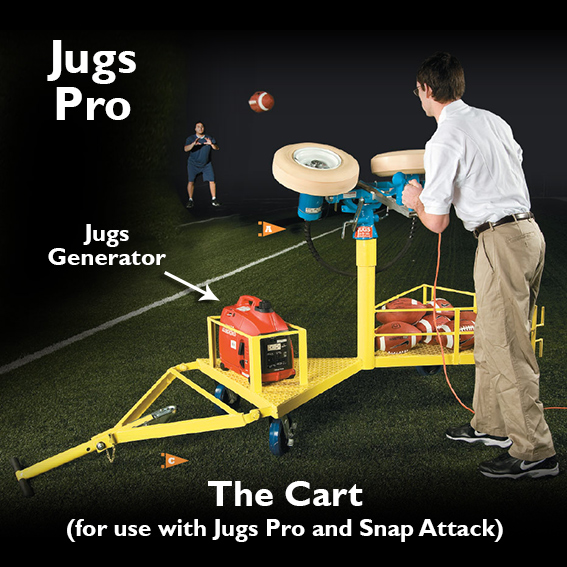 Jugs Cart, Jugs Pro, football machine, football passing machine, football throwing machine, football practice machine LARGE