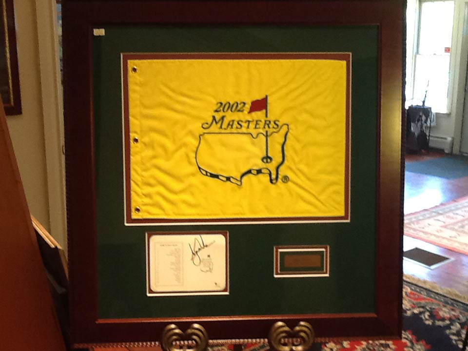 2002 Masters Flag (Autographed by Tiger Woods)