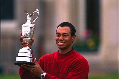 Tiger Woods with Claret Jug