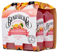 Bundaberg Sparkling Pink Grapefruit Drink, 4 pack