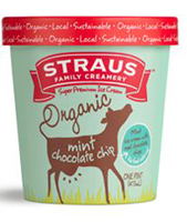Straus Organic Mint Chocolate Chip Ice Cream, Pint