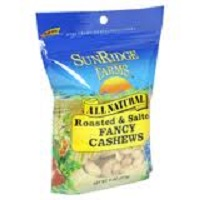 Sunridge Organic Roasted & Salted Cashews, 8oz.