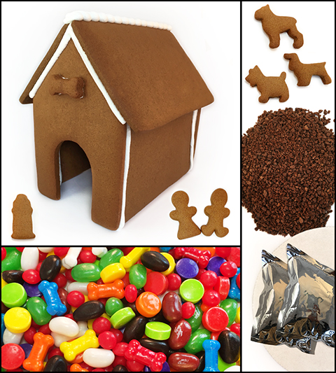 Dog Gingerbread House Kit - Assembled