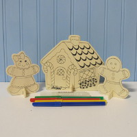 Wooden Gingerbread Scene
