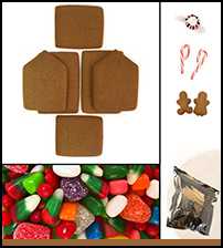 Unassembled Gingerbread Cabin House THUMBNAIL