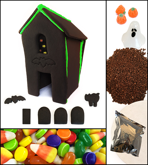 Assembled Chocolate Halloween Gingerbread House Kit MAIN