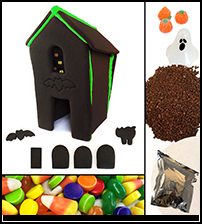 Halloween Black Chocolate Gingerbread House Kit - Assembled