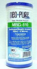 "Neo-Pure Grooved Sediment filter ""Generic AP810""   4-1/2"" x 9-7/8""  ... 5 micron  Filter"
