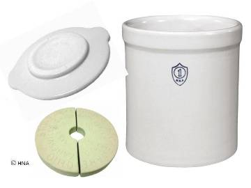 Ohio Stoneware 1 Gallon Fermentation, Preserving and Pickling Crock  3 Piece Kit - Crock, Stones, Lid