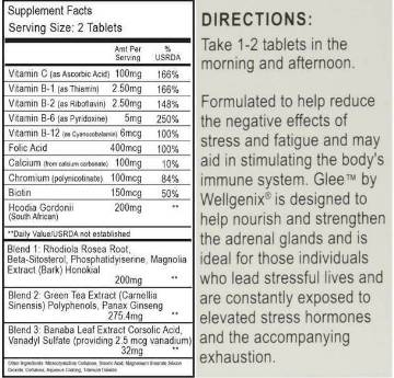 GLEE Dietary Supplement for Stress Reduction, Weight Loss, Energy and Memory 30 Tablets