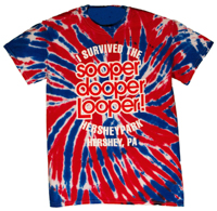 Hersheypark sooperdooperLooper Red, White, Blue TyeDye Adult T-shirt_LARGE
