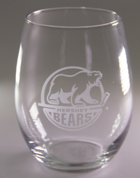 Hershey Bears Etched Primary Logo Stemless Wine Glass