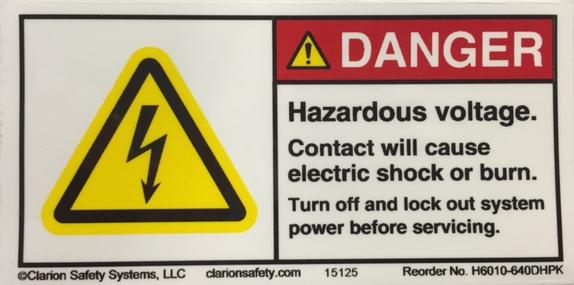 Label, Danger, Hazardous Voltage, Contact may cause electric shock or burn Turn off and Lock out