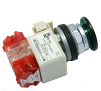 Pushbutton Illuminated, Maintained (Push/Pull), 2 Position,  Green Button, 2 N.C. Contact,Type: K MAIN