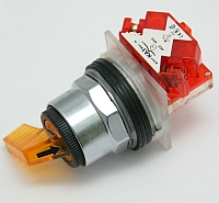 Selector Switch, Non-Illuminated, 2 Position, Amber Gloved Hand Knob,Type: K, Size: 30mm_MAIN