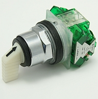 Selector Switch Non-Illuminated, Maintained, 3 Position, White Knob, 2 N.O. Contact, Type: K, Size: MAIN