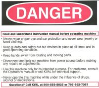 Label, Danger, Read and Understand Instruction Manual, Label For All KVAL Machines. LARGE