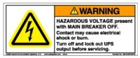 Label, Warning, Hazardous Voltage, Present With Main Break Off... MAIN