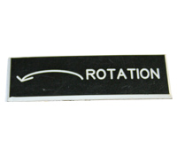 "Plastic Engraved Label, Rotation, Counter Clockwise Arrow, Beveled Edges, 3/4"" X 2-1/4"""