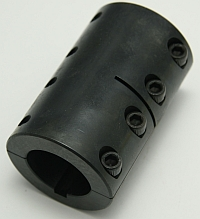 "Coupler, 1-1/4"" X 1-1/4"" Bore, 2-1/16"" OD, Rigid Two-Piece Clamp-on Shaft Coupling Steel With Keyway MAIN"