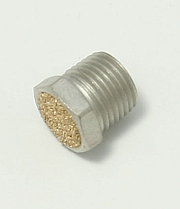"Air, Muffler, 1/8 NPT Thread, 7/16"" Overall Length, 7/16"" Hex Head Breather Vent Bronze Screen, BV-1 MAIN"