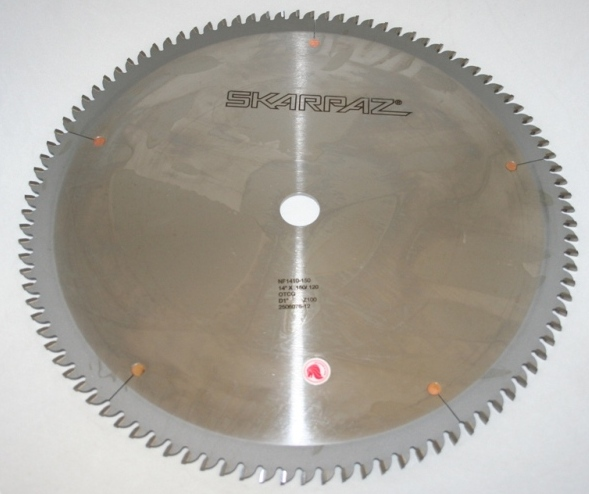 "SAW BLADE 14"" X 100 TOOTH X 1"" BORE, .120 PLATE, OTCG .150 KERF."