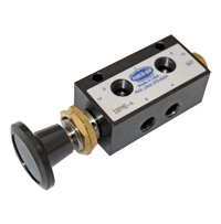 "Directional Control Valve, Fabco 18 Series, PMD-4,1/8"" NPT, 4-WAY, Detented(Push-Pull), Panel Mount MAIN"