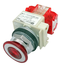 Pushbutton Illuminated, Maintained (Push/Pull), 2 Position, Red Button, 2 N.C. Contact, 9001KR9P1RH8 MAIN