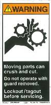 "Label, Warning, Moving Parts Can Crush and Cut ... Lockout/Tagout,1014-M4WVPJ, 2.70"" X 5.50"""