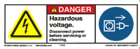 "Label, Hazardous Voltage Disconnect Power Before Servicing Or Cleaning, H6010/6057-CJDHU,4"" X 1.35"" MAIN"