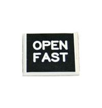 "Plastic Engraved Label, Rotation, Open Fast, Beveled Edges, 3/4"" x 3/4"" MAIN"
