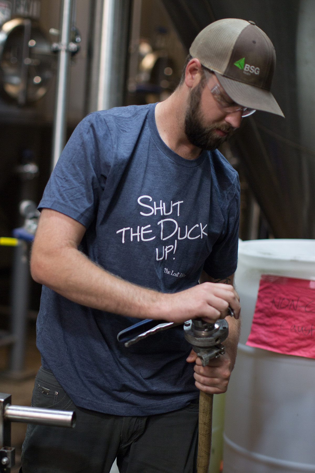 SALE: The Lost Abbey Men's Shut the Duck Up TShirt - Blue Mini-Thumbnail