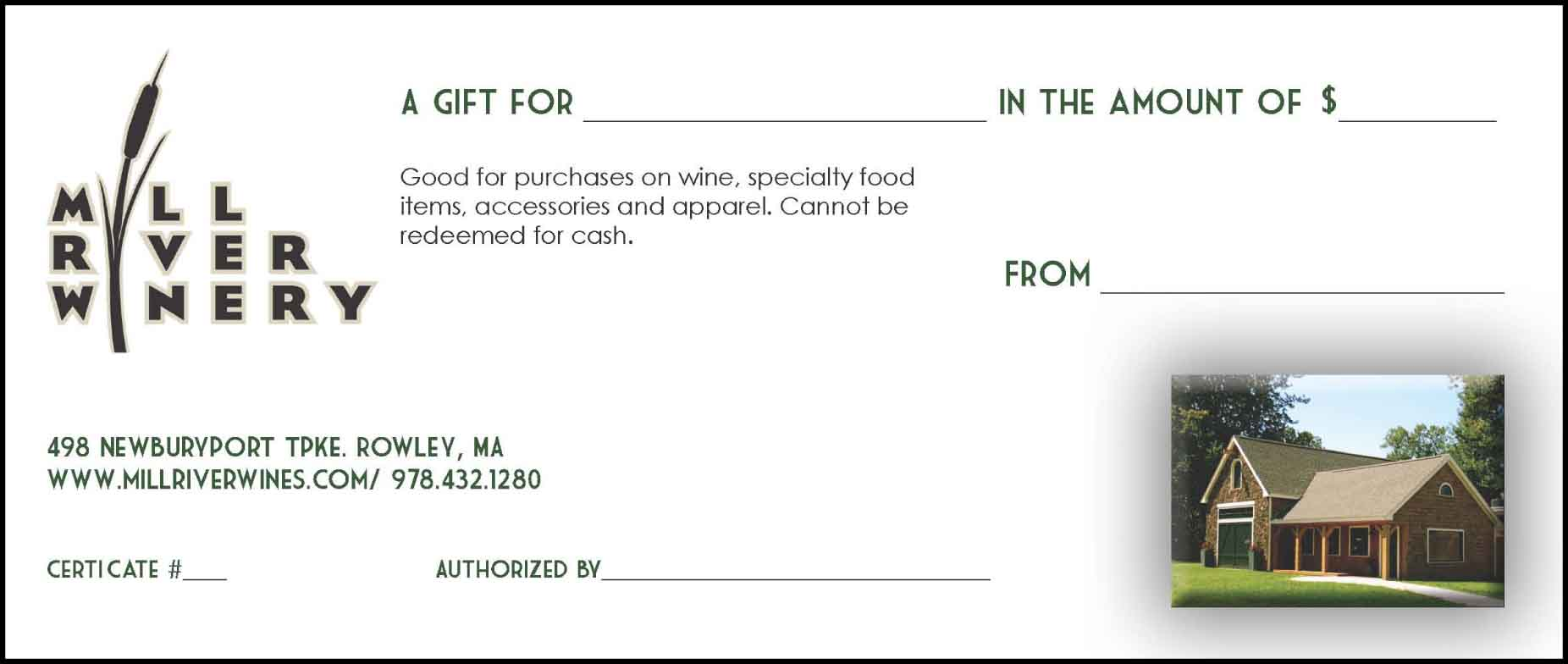 Mill River Winery Gift Certificates LARGE