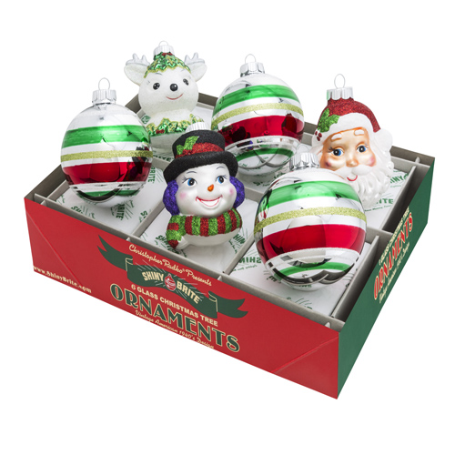 Holiday Splendor Santa, Snowman & Deer with Decorated Rounds
