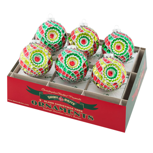 "Holiday Splendor 3.25"" 6c Decorated Rounds With Reflectors"